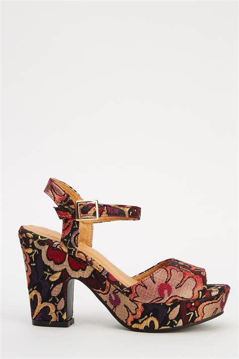 floral heeled sandals metallic floral block heel sandal just 163 5