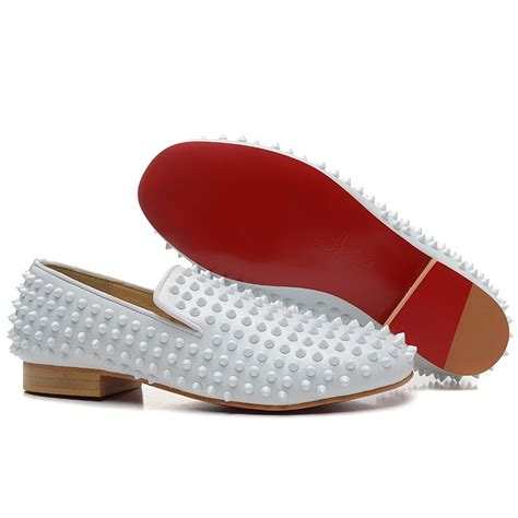 white loafers mens shoes cheap christian louboutin rollerboy spikes flat leather