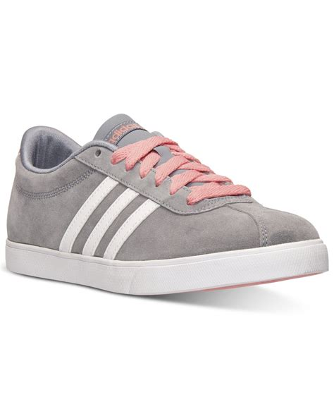 womens grey sneakers lyst adidas s courtset casual sneakers from finish