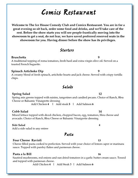 home dinner menu template the house menu