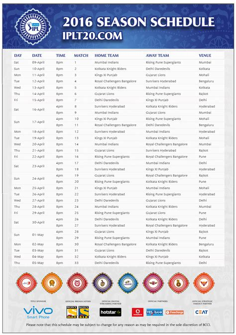 ipl 2016 image calendar template 2016 ipl 9 t20 schedule 2016 match venues and time table