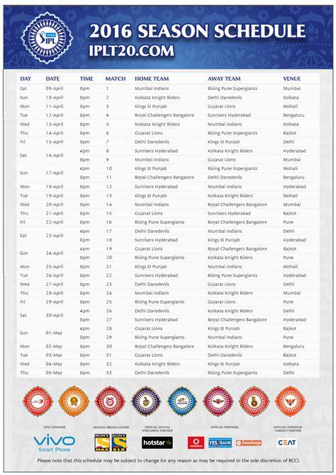 2016 ipl match list ipl 9 match time table 2016 calendar template 2016