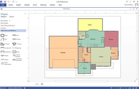 home floor plan visio how to create a ms visio floor plan using conceptdraw pro