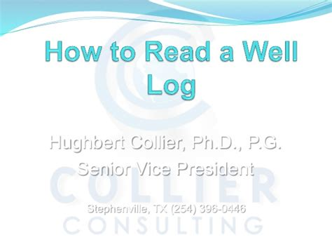 how to read comfortably how to read a well log hughbert collier