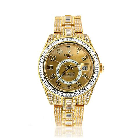 fully iced out 18k yellow gold sky dweller rolex
