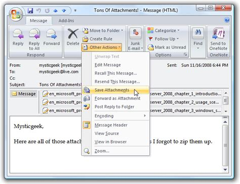 save email save multiple attachments at once in outlook 2007
