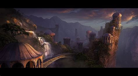 wallpaper abyss fantasy city city wallpaper and background 1440x800 id 326036