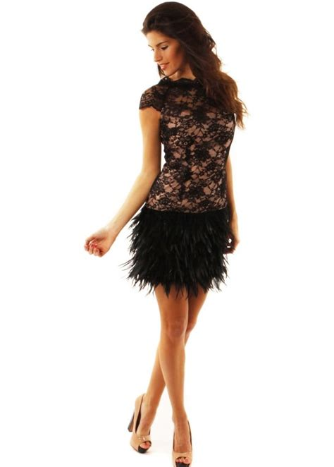 Dress Feather mcberry black lace feather dress designer lace