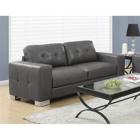 Leather Sofa In Charcoal Gray I8223gy Charcoal Grey Leather Sofa