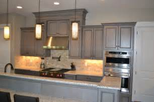 Black Stained Kitchen Cabinets by Gray Stained Cabinets With Black Glaze Traditional