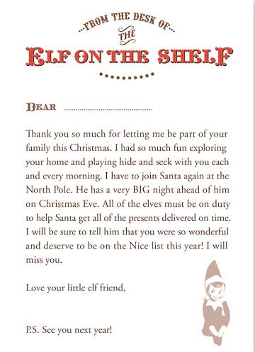 free printable elf on the shelf hello letter 10 creative way to say goodbye to your elf on the shelf