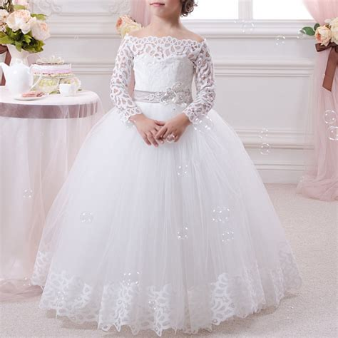 gold lace appliques long sleeves white tulle ball gowns wedding dress long sleeve lace white flower girls dresses for weddings