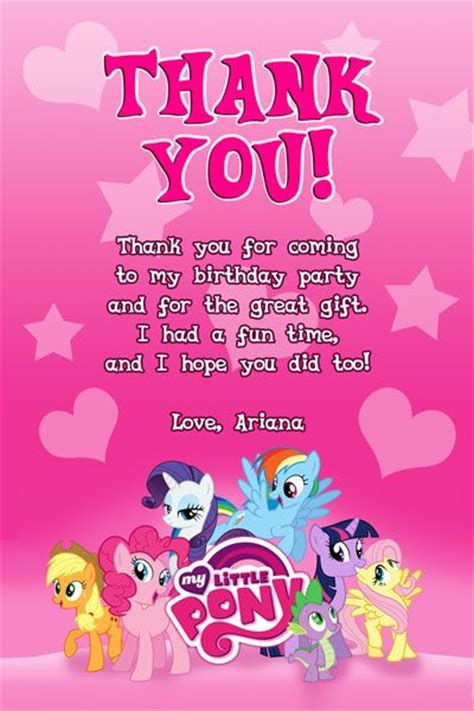 my little pony printable thank you cards my little pony thank you card 2 invitations pinterest
