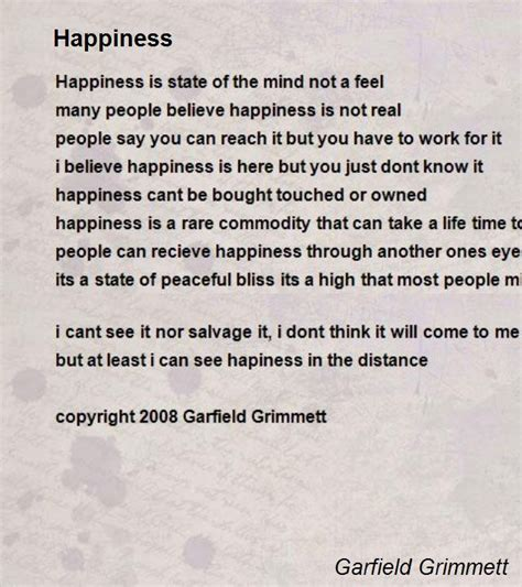 poem for happiness poem by garfield grimmett poem