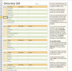 grocery list templates grocery shopping list template for excel