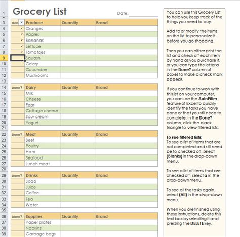 grocery list excel template grocery shopping list template for excel