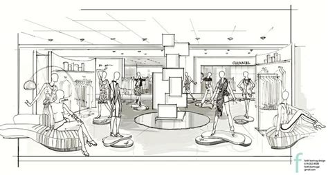 store layout design and visual merchandising case study vm sketch by faith bartrug design for neiman marcus vm