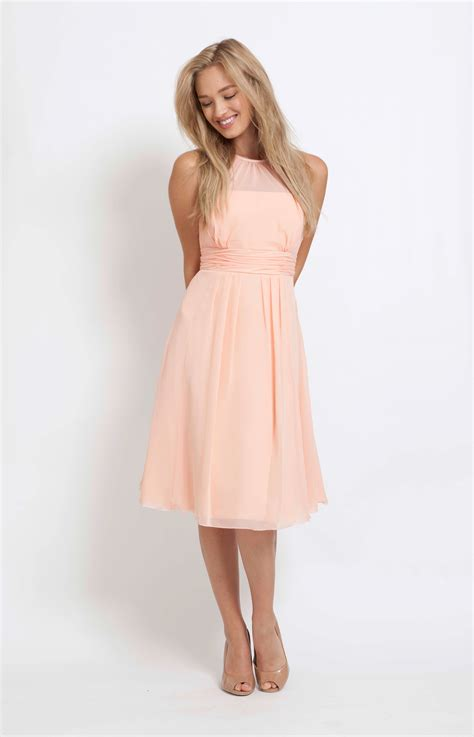 Catherine Short Peach Wedding Dress from Maids to Measure   hitched.co.uk