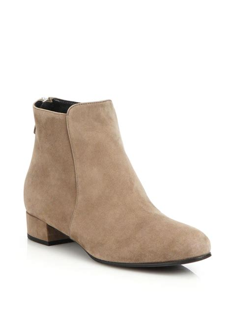 prada suede flat ankle boots in beige lyst