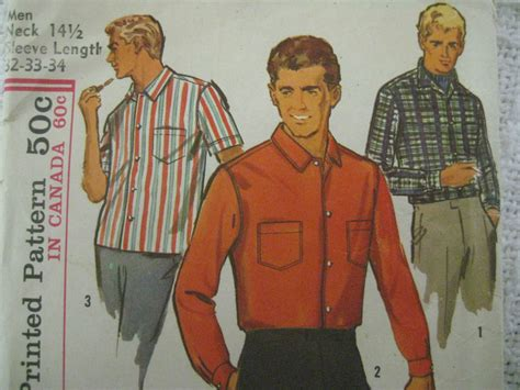 vintage pattern shirt mens vintage simplicity 6255 mens proportioned shirt sewing