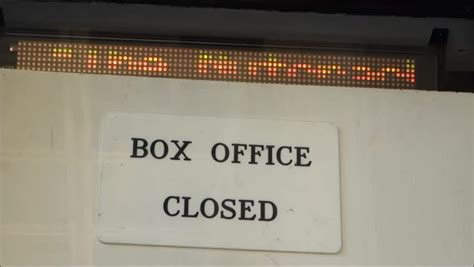 Box Office Discussion by Box Office Closed Sign With Message Stock