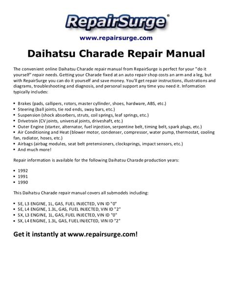 small engine repair manuals free download 1992 mitsubishi eclipse interior lighting daihatsu charade repair manual 1990 1992