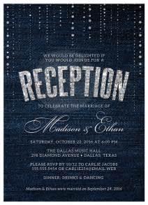 post wedding reception only invitations denim diamonds