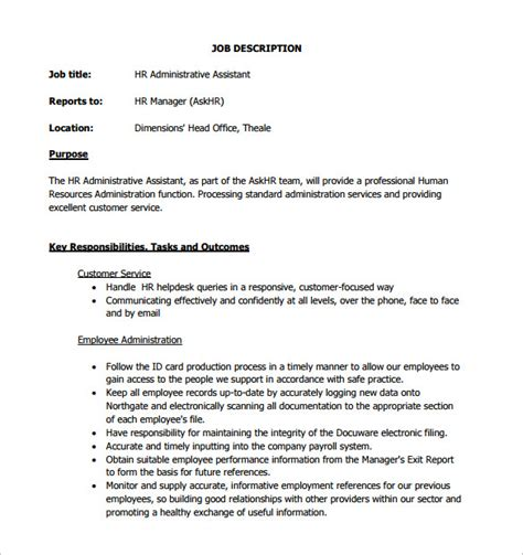 administrative assistant job description template 9