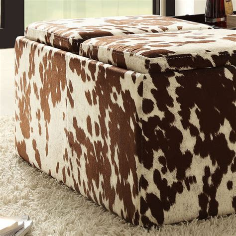 cow skin ottoman home creek cowhide print storage cocktail ottoman buy now