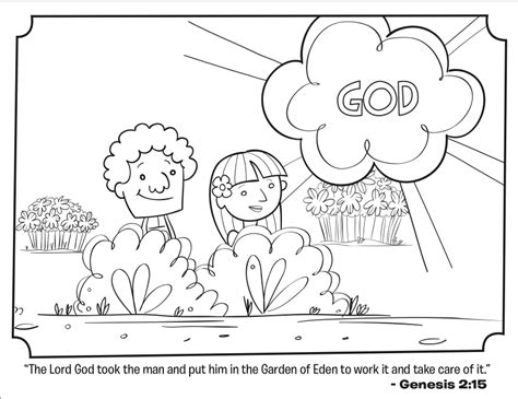 Coloring Page Adam And by Adam And Bible Coloring Page
