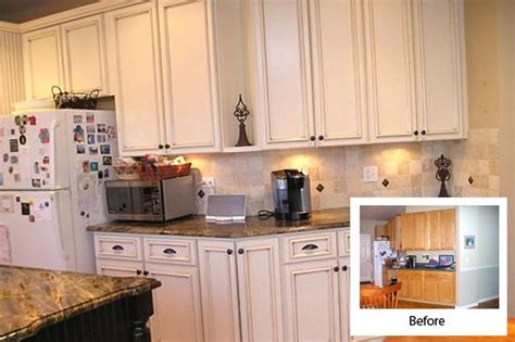 Refacing Kitchen Cabinets Before And After Kitchen Refacing Before And After White Kitchen Cabinet