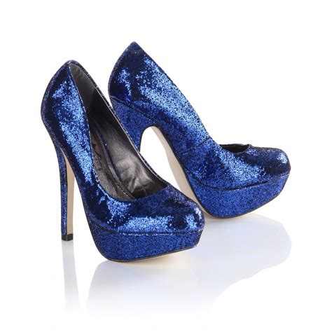 blue high heels s royal blue glitter toe platform high heels