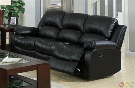 Kaden Black Bonded Leather Reclining Sofa And Loveseat Set Black Reclining Leather Sofa
