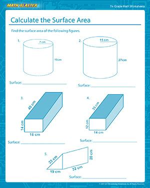 calculate the surface area free math worksheets for 7th
