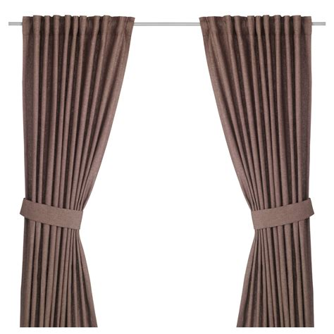 ikea curtain tie backs ingert curtains with tie backs 1 pair brown 145x250 cm ikea