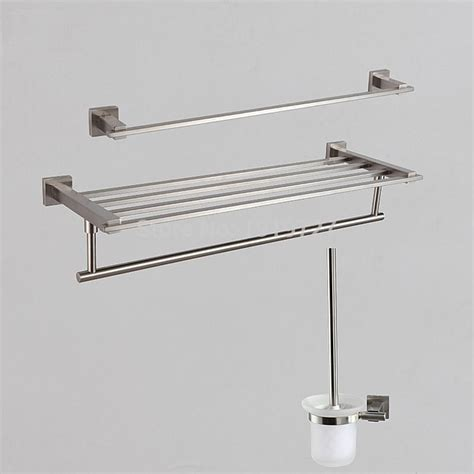 Brushed Steel Bathroom Accessories Stainless Steel 5 Bathroom Accessories Kit Brushed Hardware Set Towel Rack Towel Bar Wall