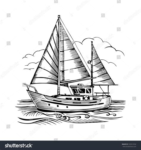 drawing boat and waves sailing boat vector sketch isolated clouds stock vector