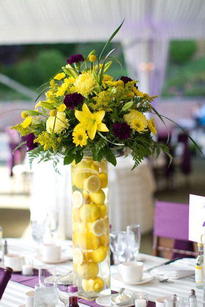 Purple And Yellow New York Wedding Flower Centerpieces Purple And Yellow Wedding Centerpieces