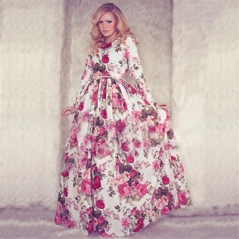 Dress Pakaian Terusan Panjang Wanita Retro Pattern M 333445 baru 2015 wanita musim panas maxi dress lengan panjang o