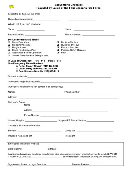 Nanny Release Letter 8 best images of free printable consent forms free printable babysitting