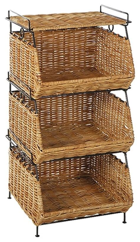 stackable filing rattan baskets in contemporary