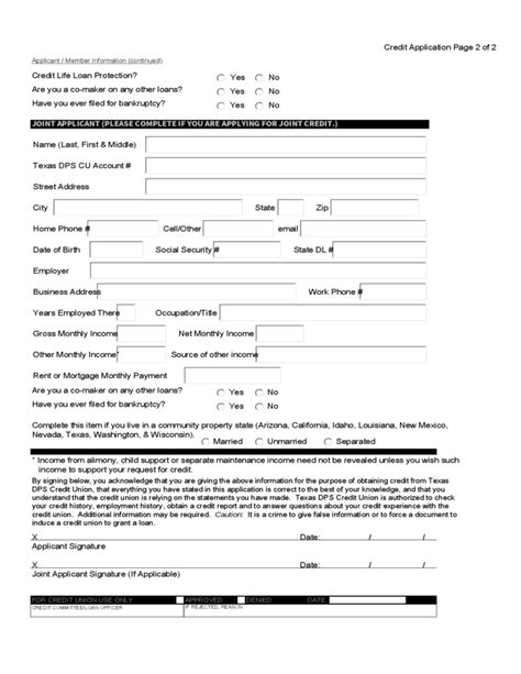 Credit Application Form Individual Credit Union Loan Application Sle Form Free