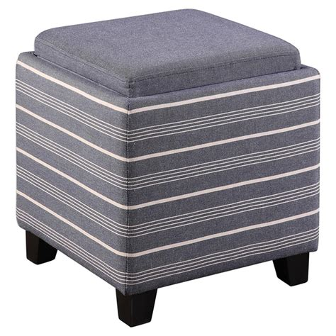 Mollefort Coastal Beach Striped Blue Storage Tray Ottoman Striped Ottoman