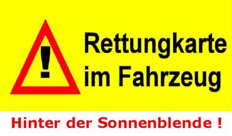 Kfz Rettungskarte Aufkleber by B 252 Rgerservice