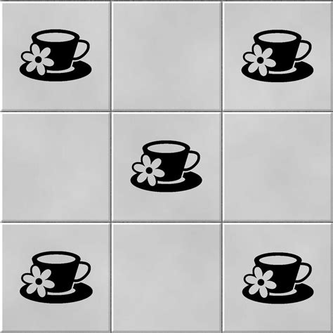 coffee cup vinyl wall tile stickers decal transfers for