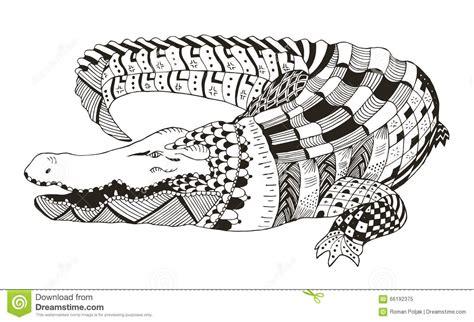 crocodile zentangle stylized vector illustration