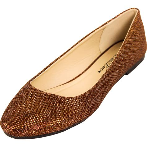 glitter flats shoes new womens glitter ballet flats slip on shoes sparkle