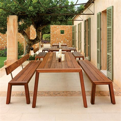 outdoor dining table and bench modern garden table and bench viteo solo minimalist