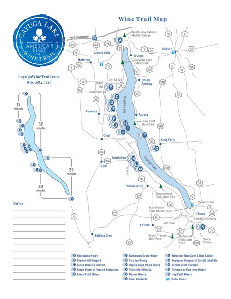 cayuga lake wine trail map finger lakes wine a day in new york s wine country road