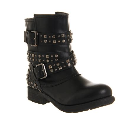 black boots womens office bold stud biker black boots ebay